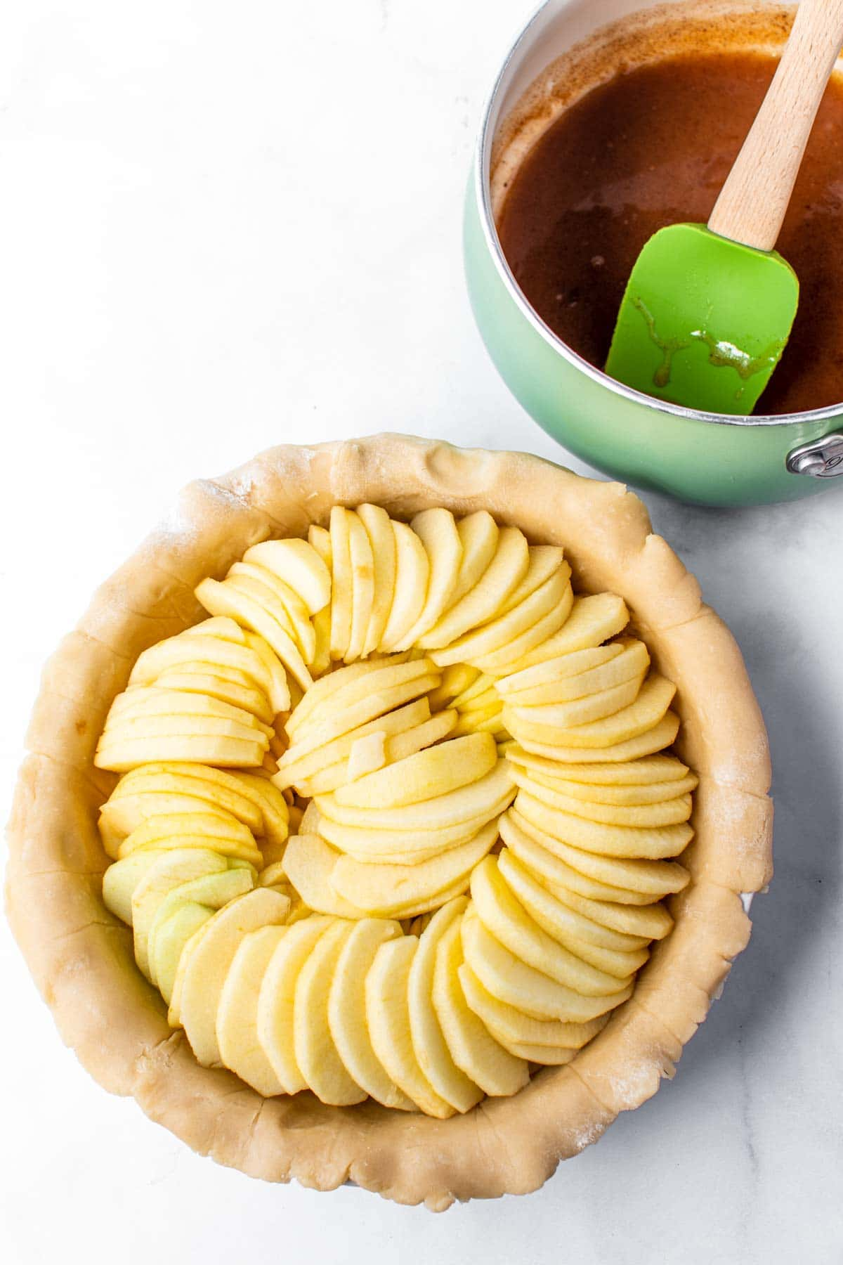 Apple pie slices in a pie crust