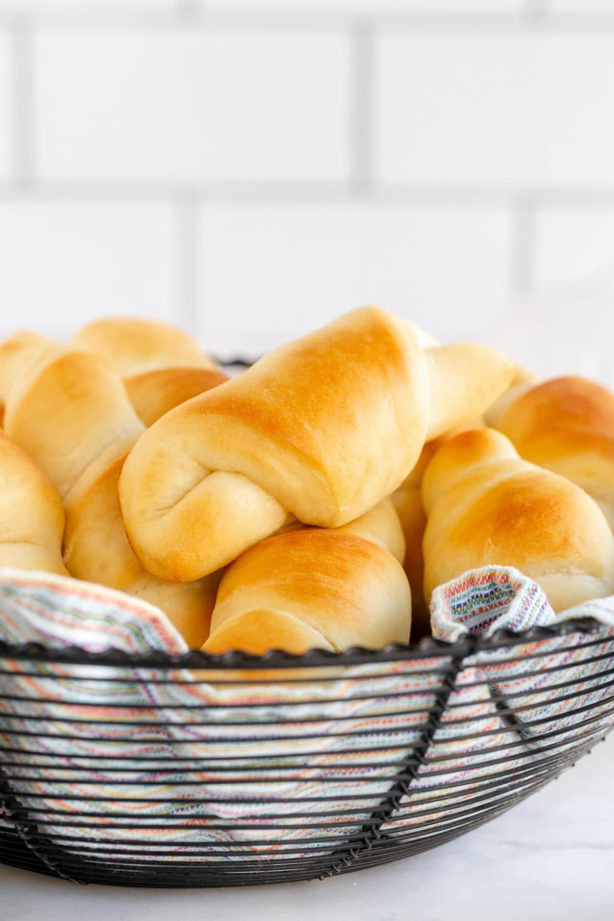 Basket full of homemade crescent rolls