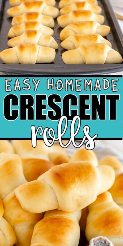 Homemade crescent rolls photo with text for Pinterest