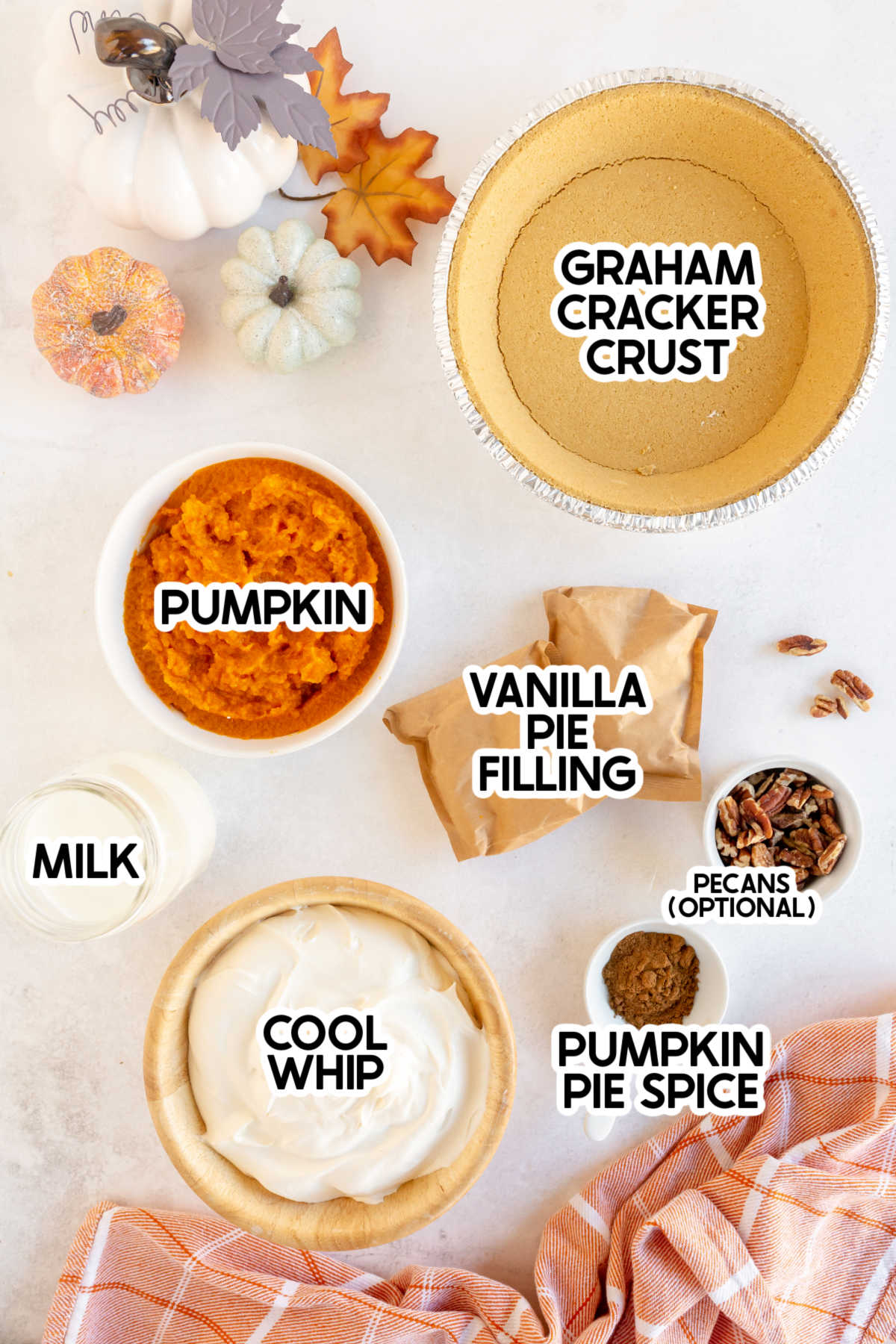 Ingredients for no bake pumpkin pie with labels