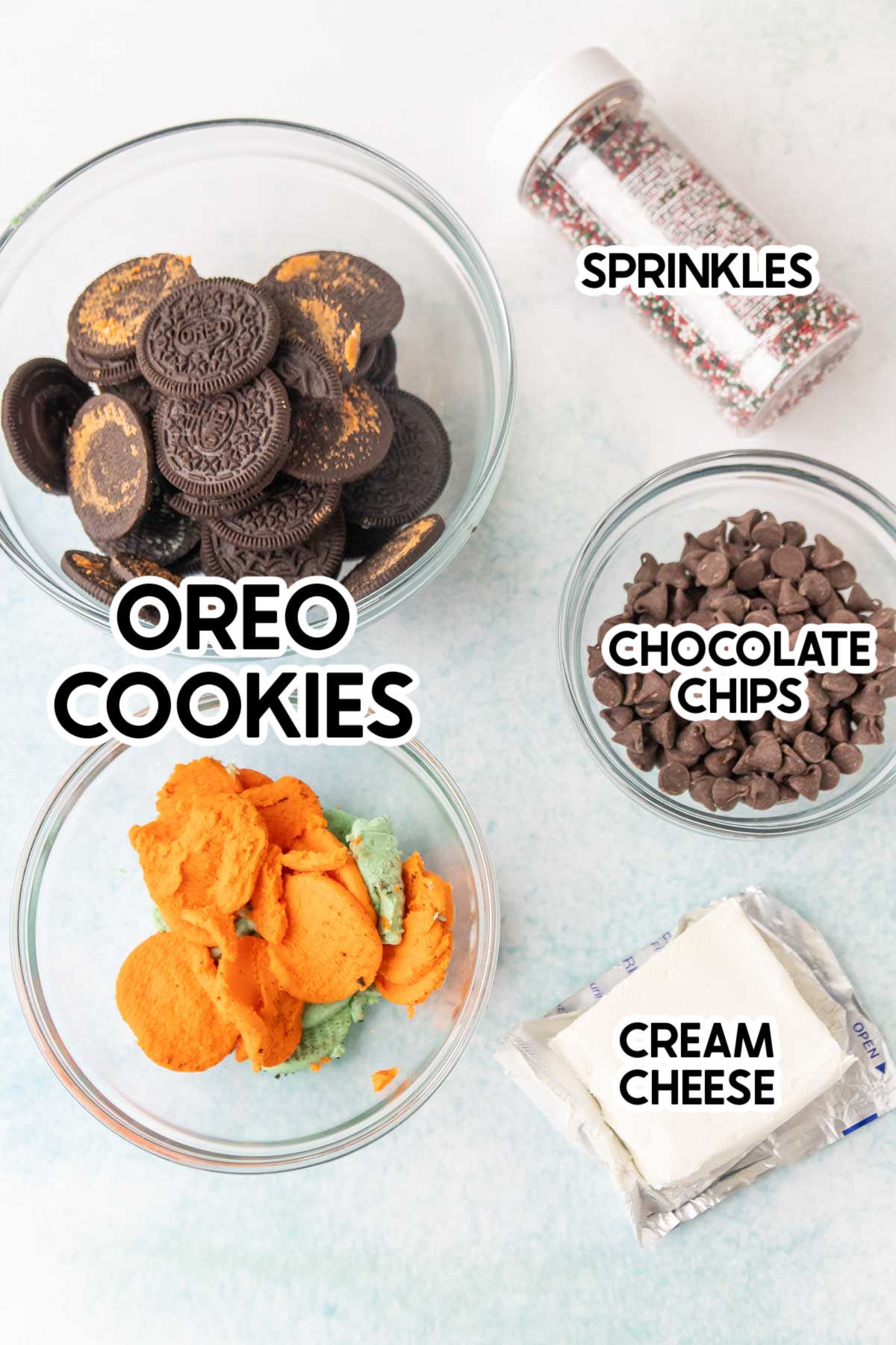 Ingredients needed for Oreo truffles with labels