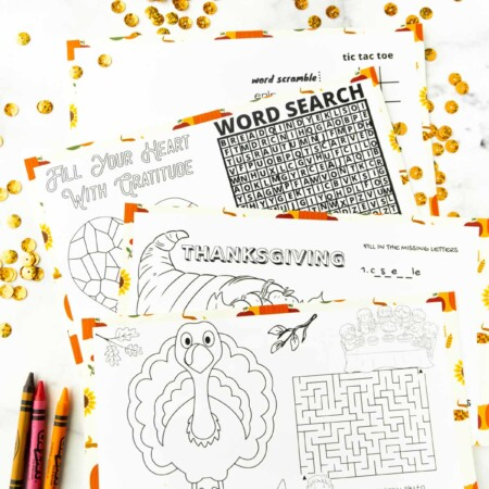 Printed out Thanksgiving placemats for kids with crayons