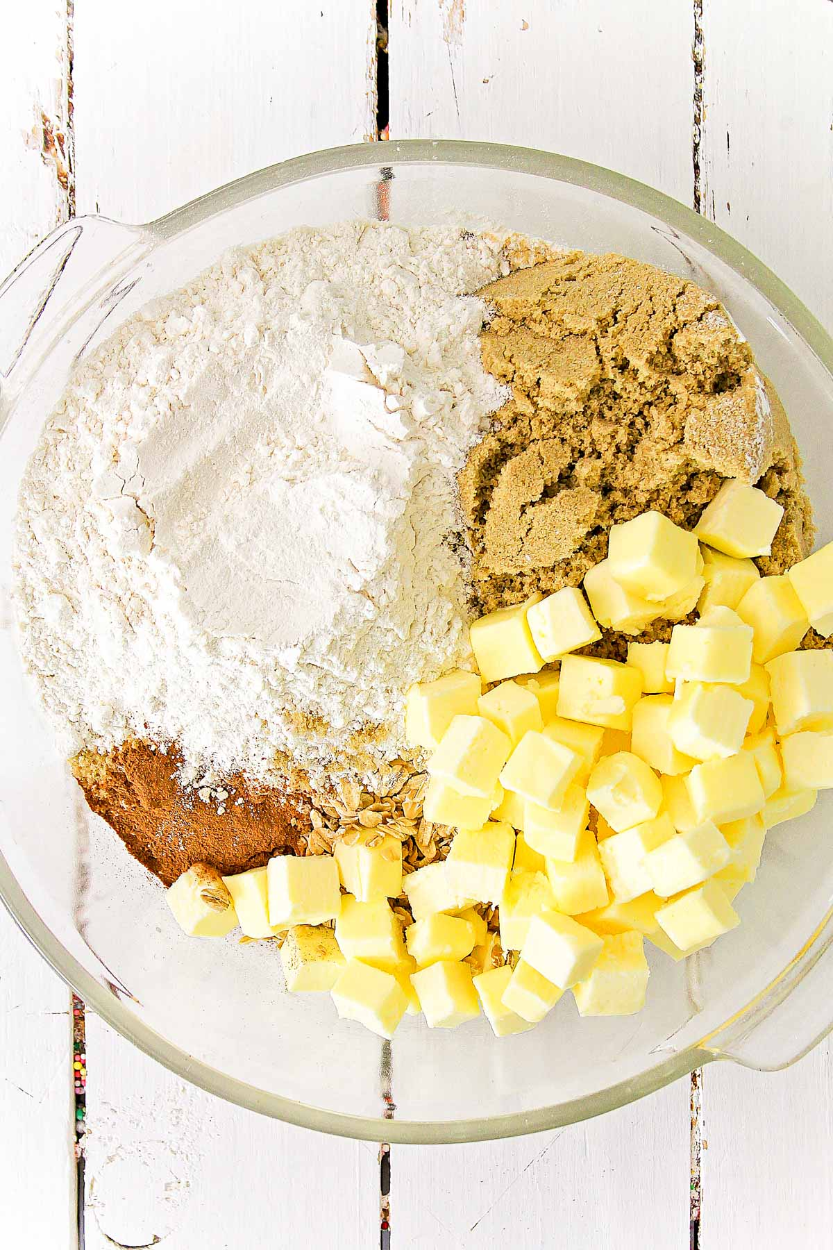 Dry ingredients and butter in a large bowl
