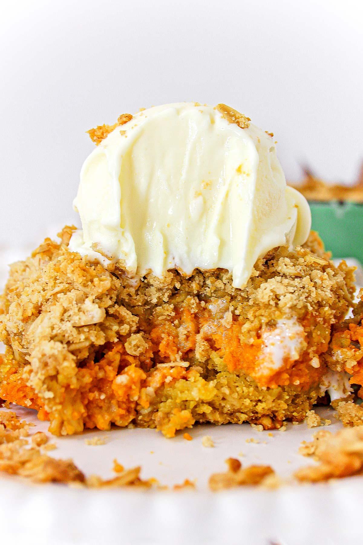 Maple pumpkin crisp with a scoop of vanilla ice cream on top