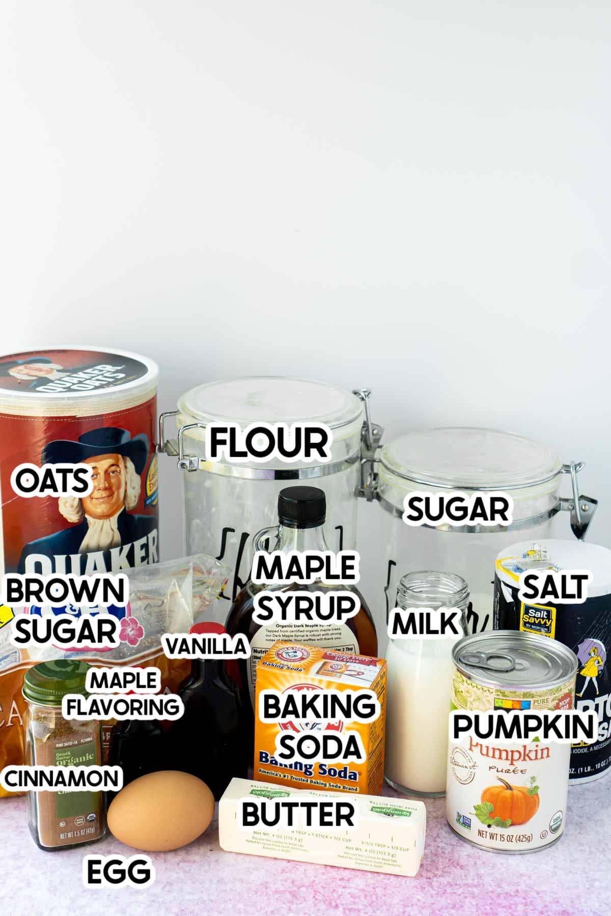 Ingredients needed for maple pumpkin crisp