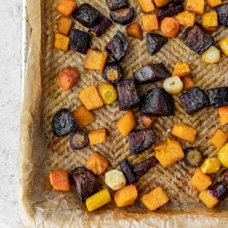 A sheet pan full of roasted root vegetables