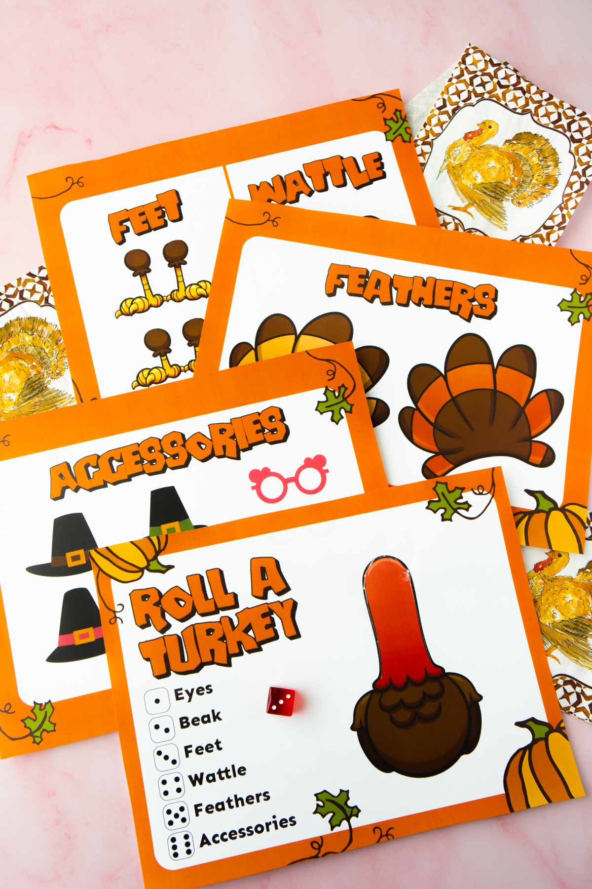 Roll a turkey game printed out on a pink background