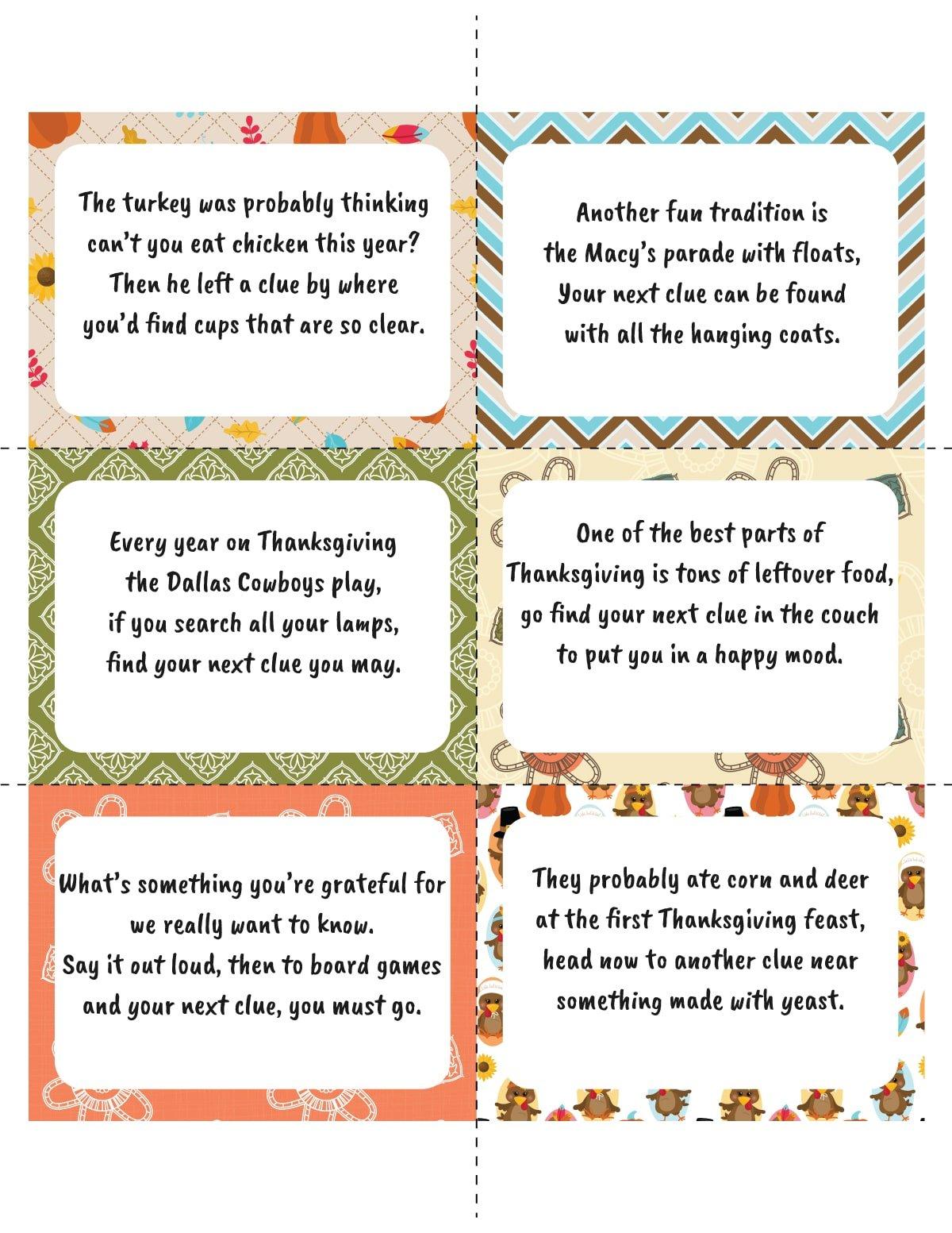Thanksgiving scavenger hunt cards