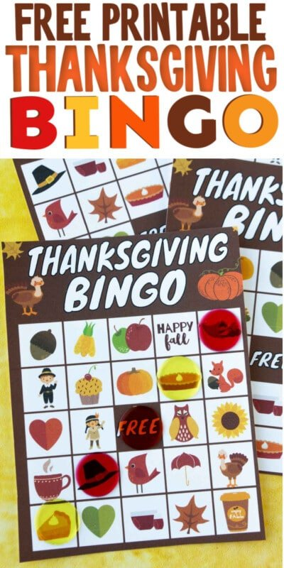 Thanksgiving bingo cards with text for Pinterest