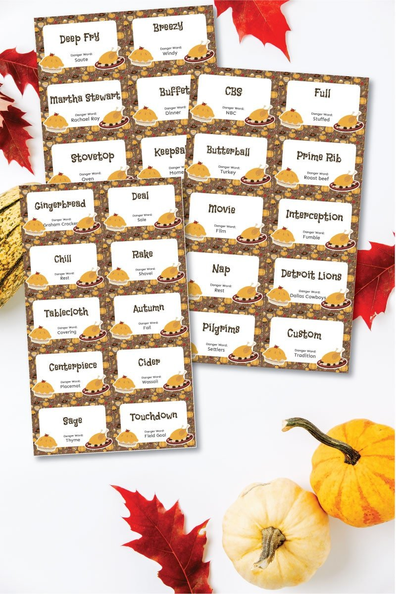 Three sheets of Thanksgiving danger words with pumpkins and leaves
