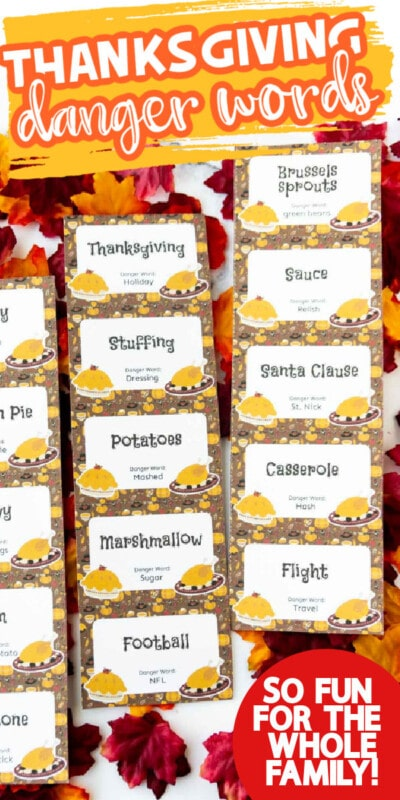 Thanksgiving danger word cards with text for Pinterest