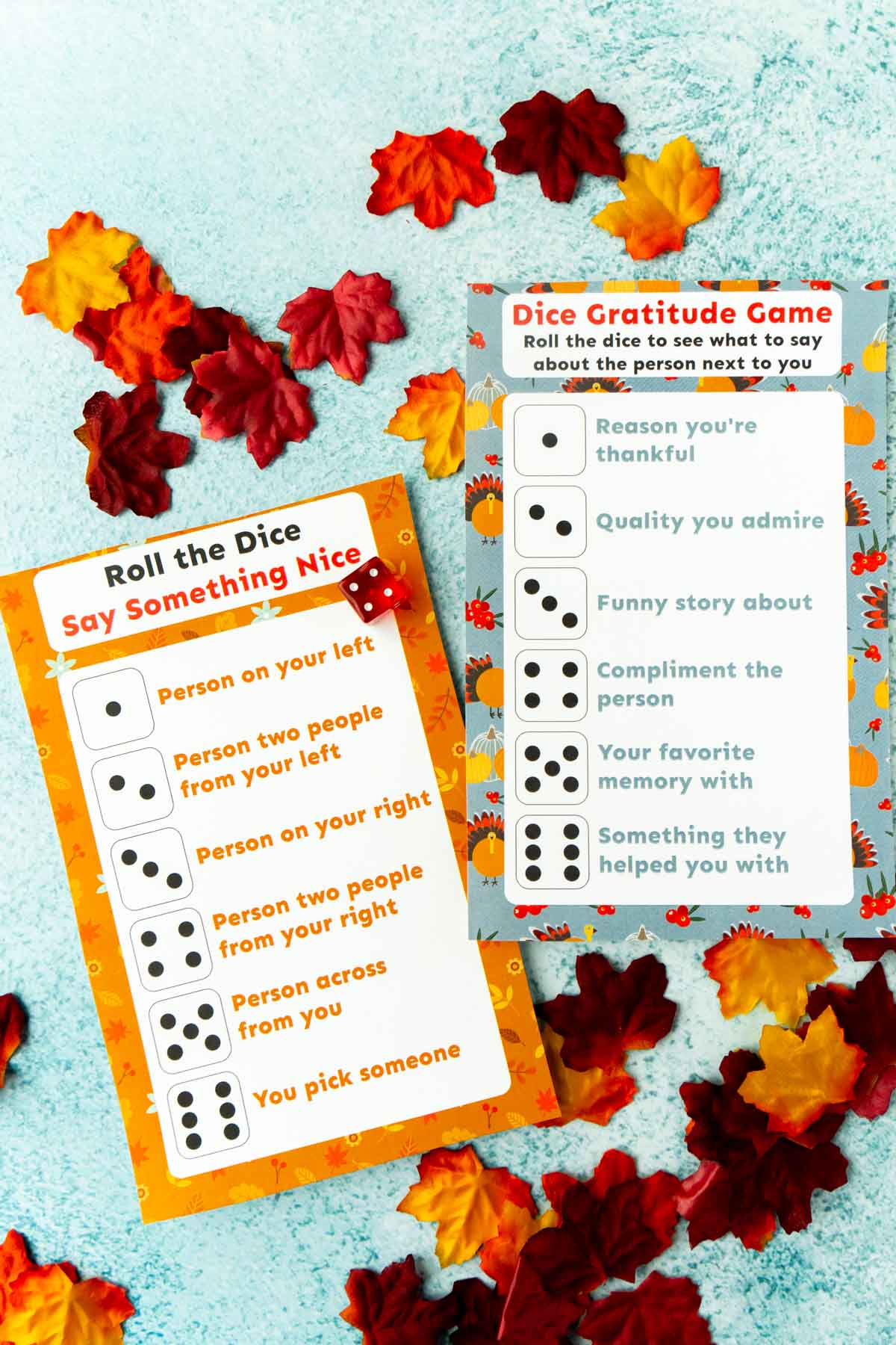 Two versions of a Thanksgiving dinner game printed out