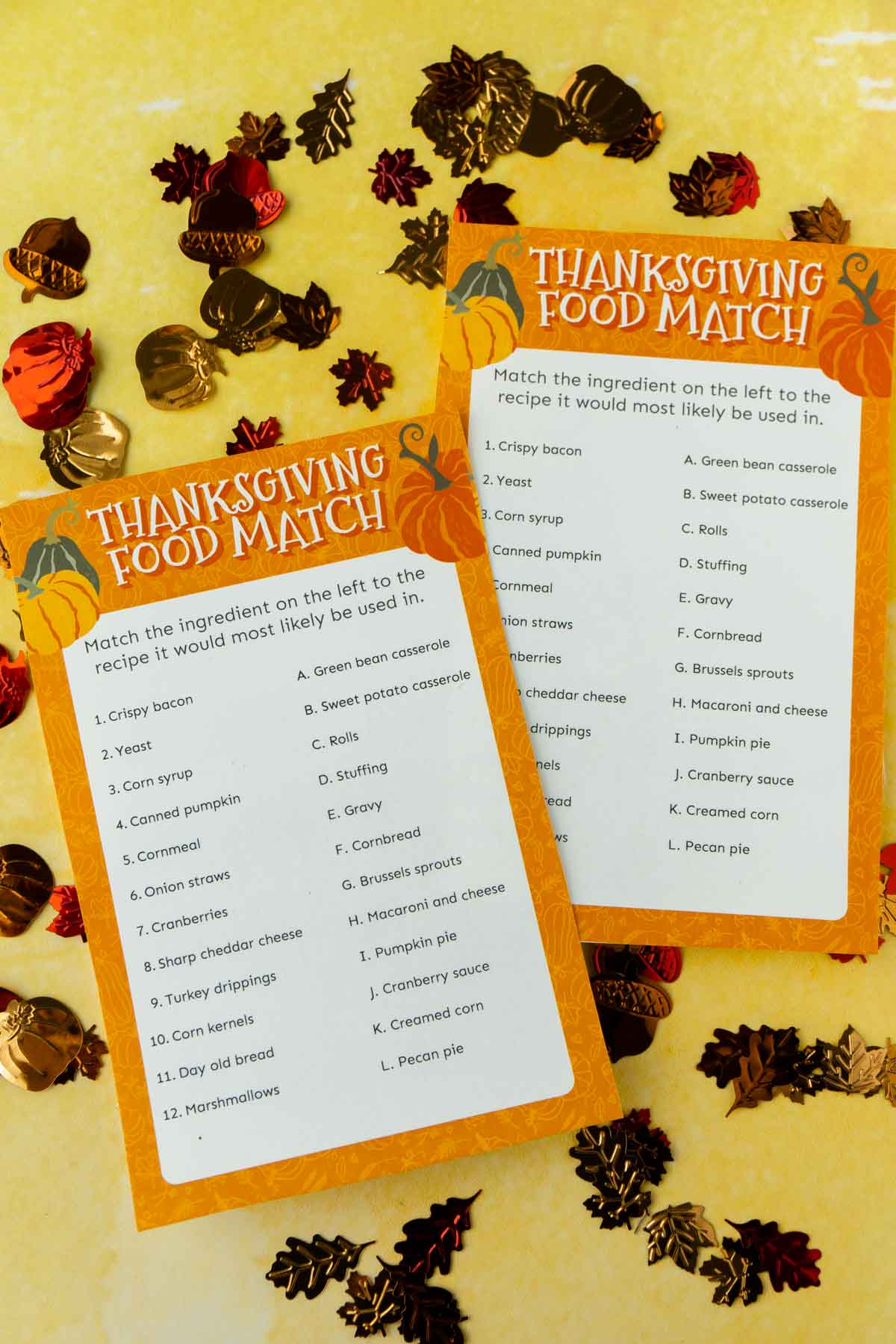 Printed out Thanksgiving matching game with fall confetti all around