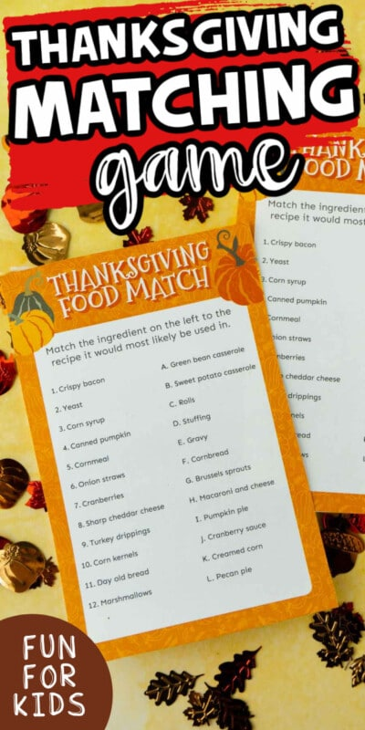 Thanksgiving matching game with text for Pinterest