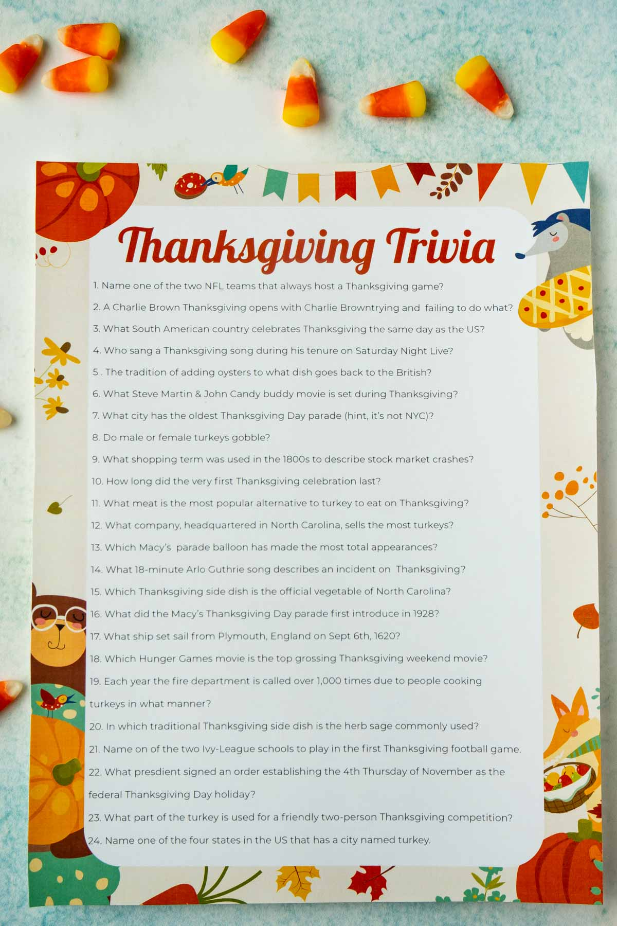 A printed out sheet of Thanksgiving trivia questions