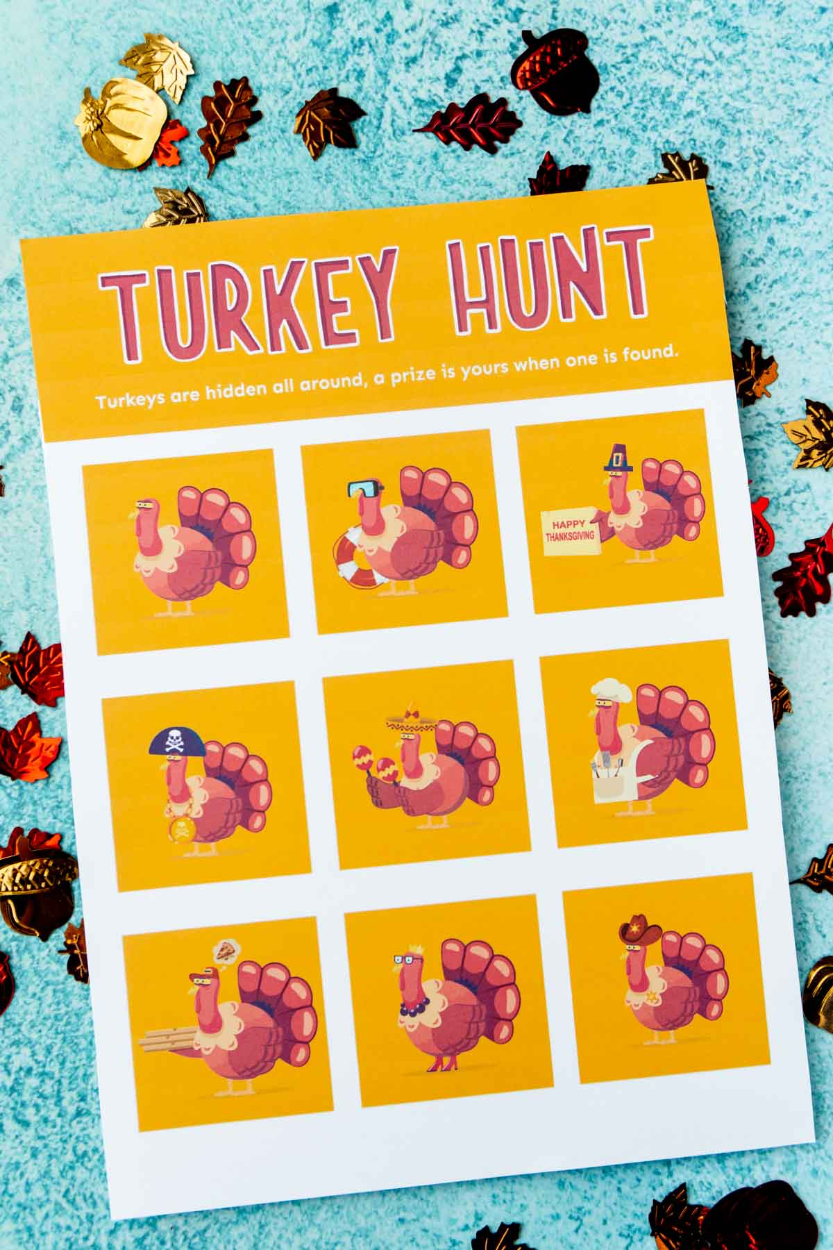 A printed out turkey hunt with turkey images on it