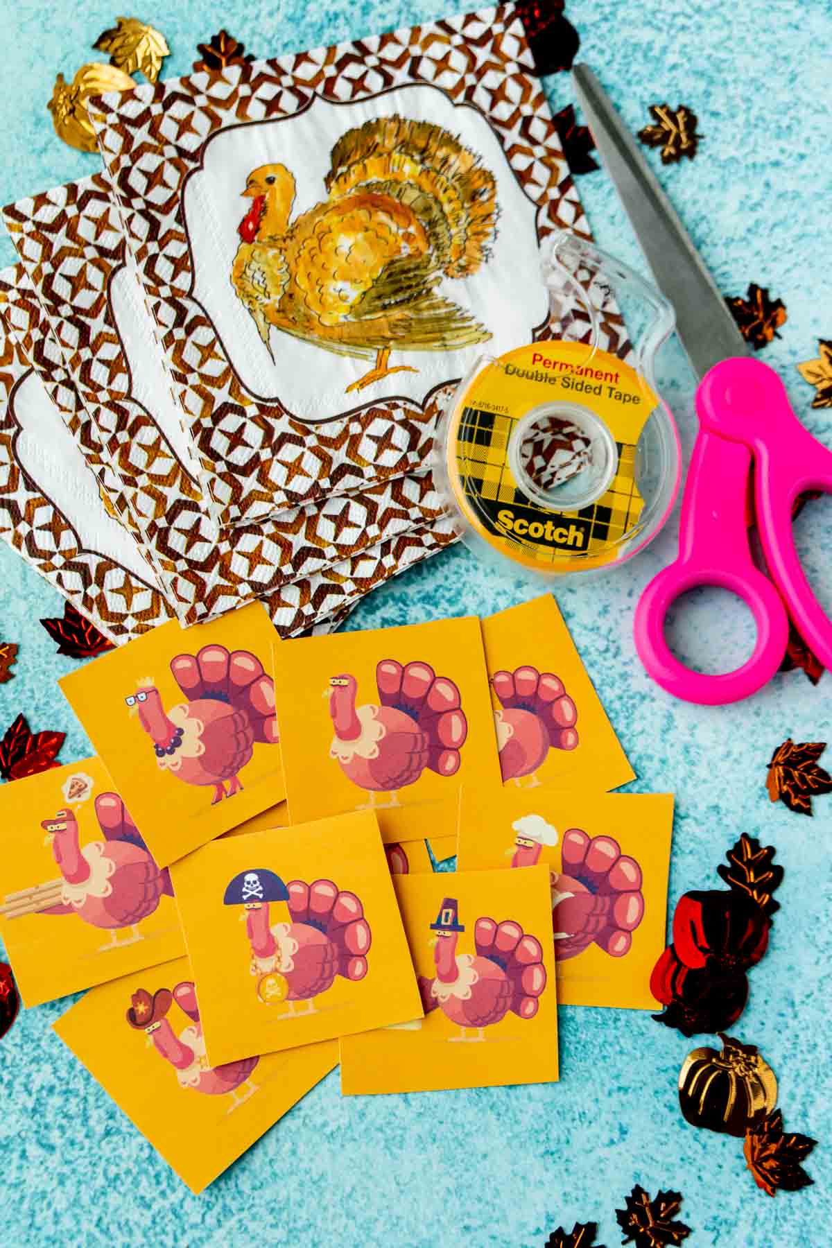 Turkey hunt cards with scissors and tape