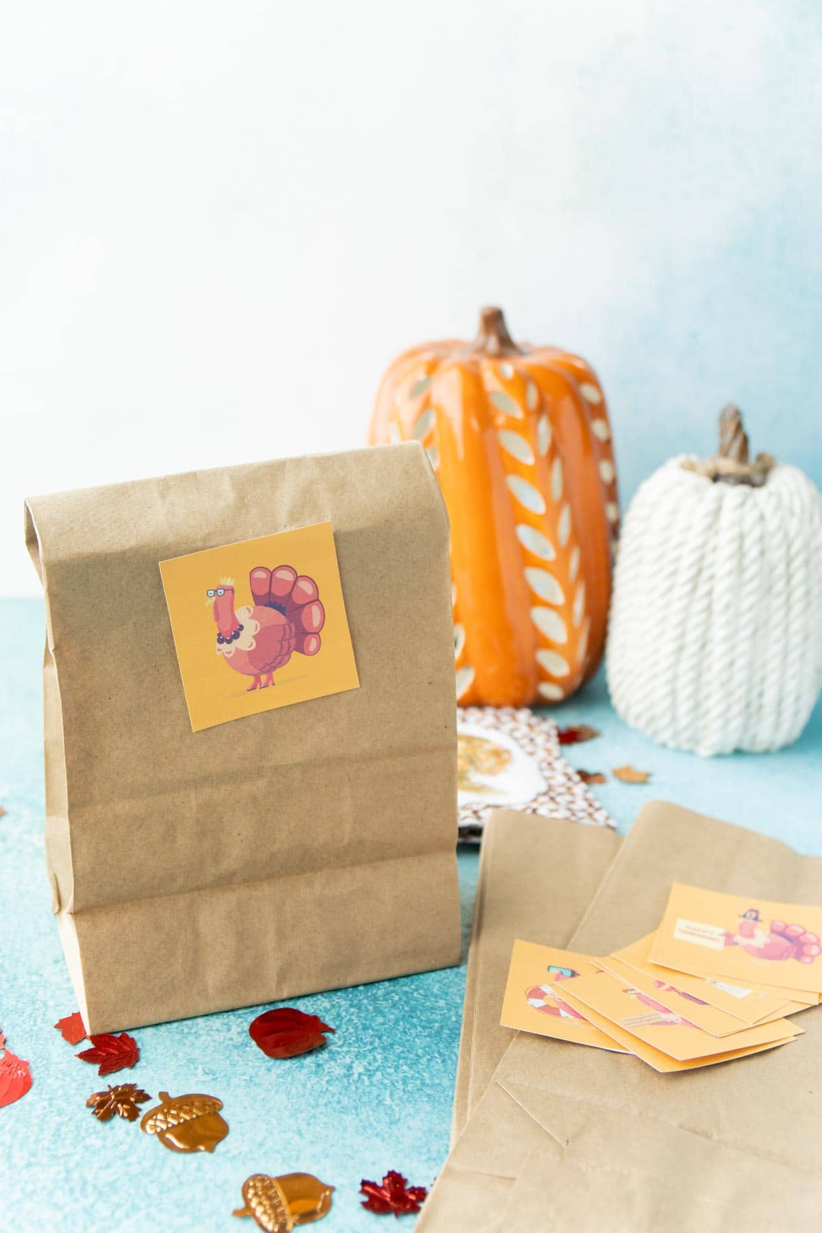 Paper bag with a turkey hunt card on it