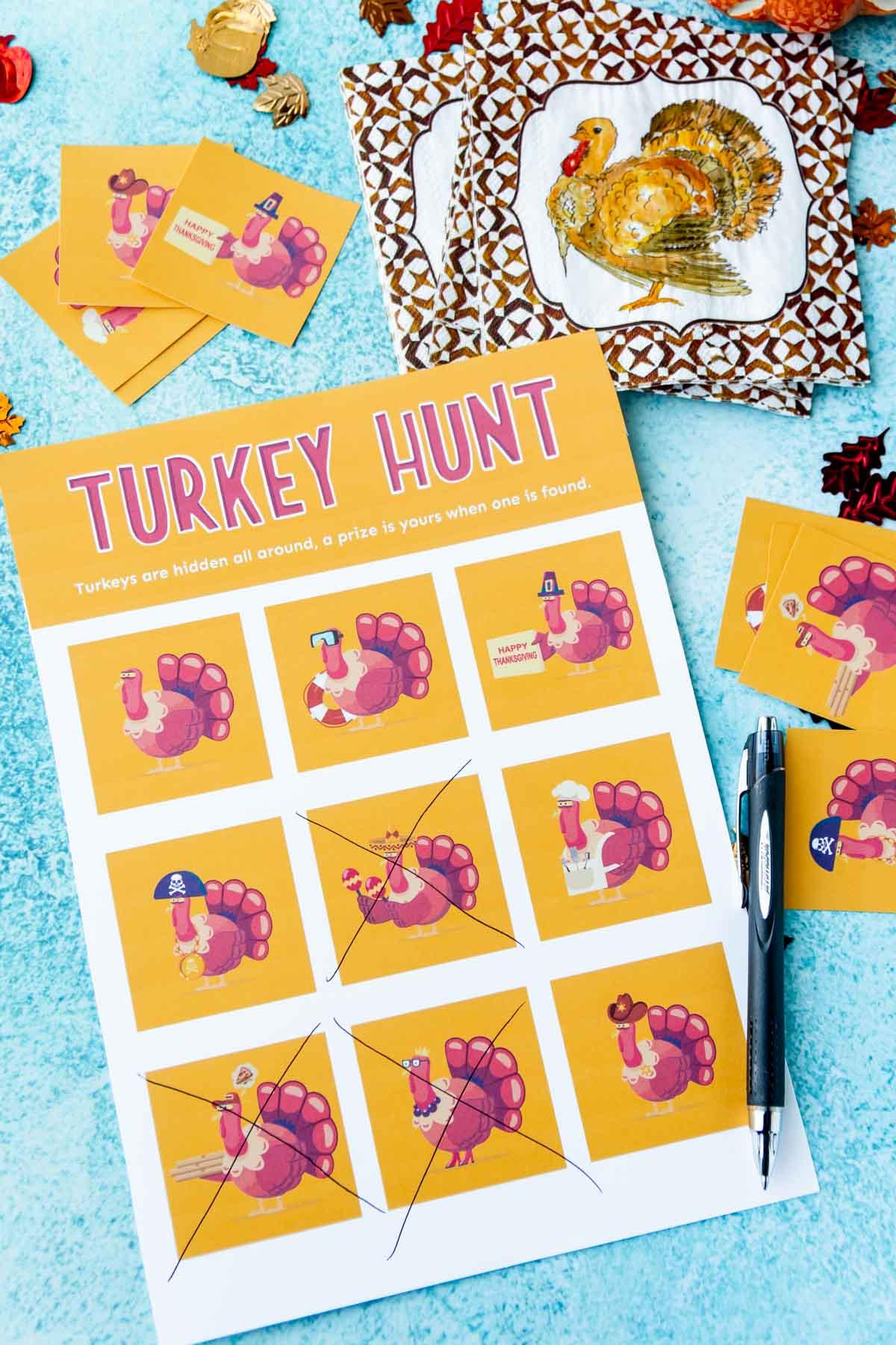 Turkey hunt with a pen and pen marking X across turkeys