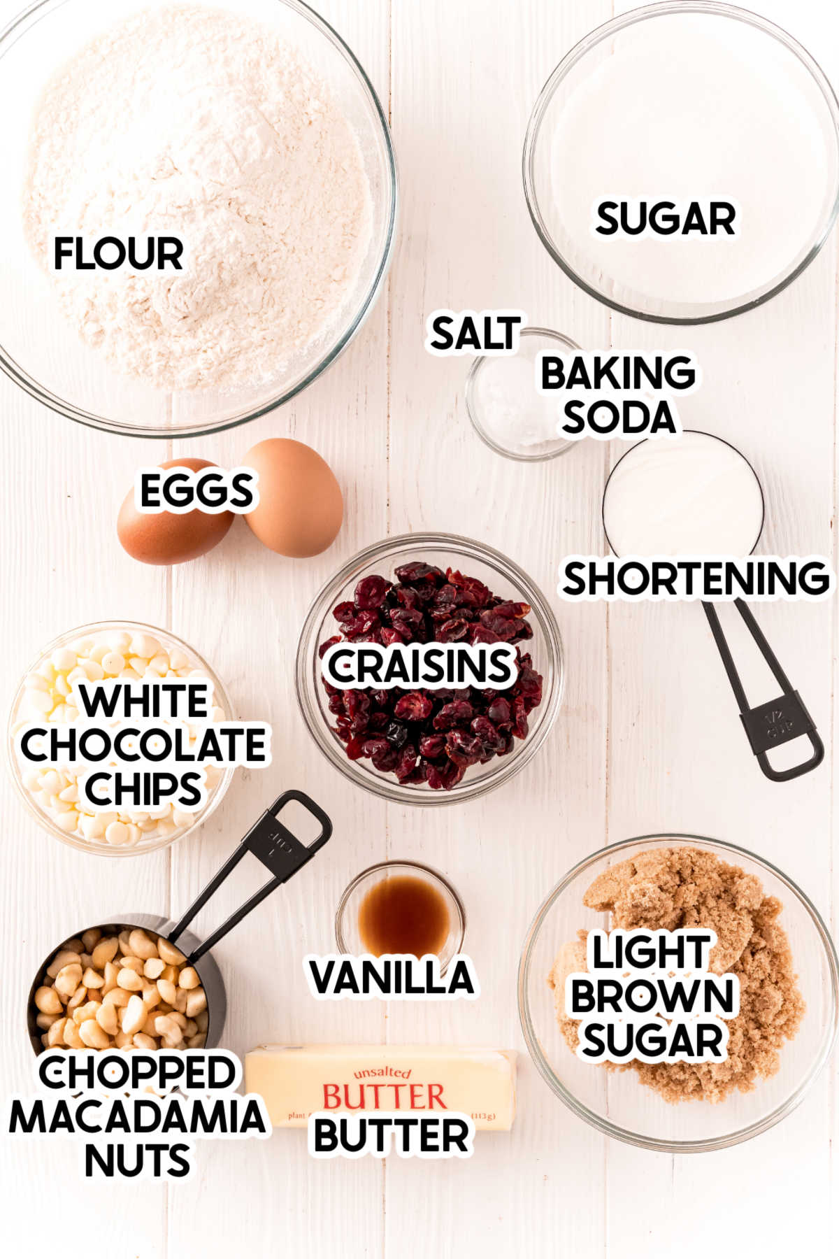 Ingredients needed for white chocolate cranberry cookies