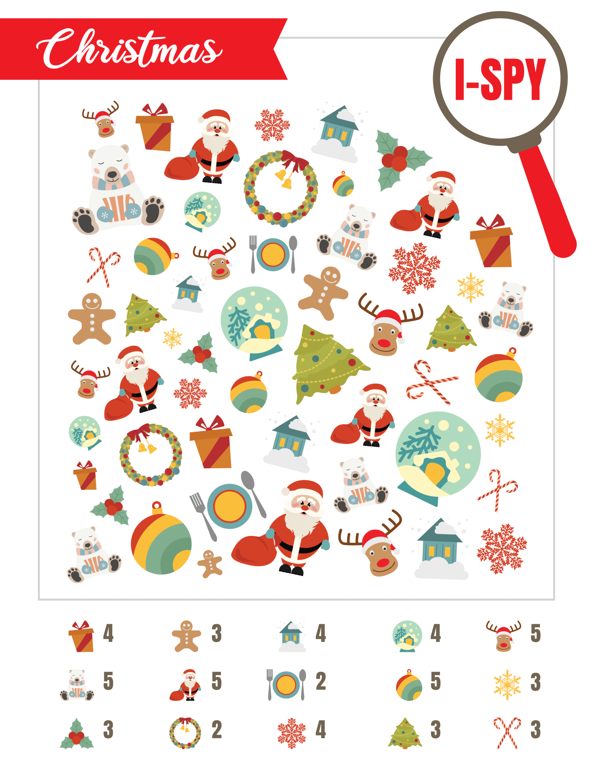 Christmas i-spy game with a red title