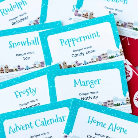Christmas danger word cards