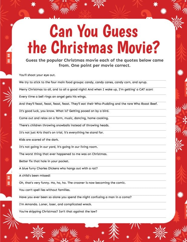 Christmas movie trivia game with a red border