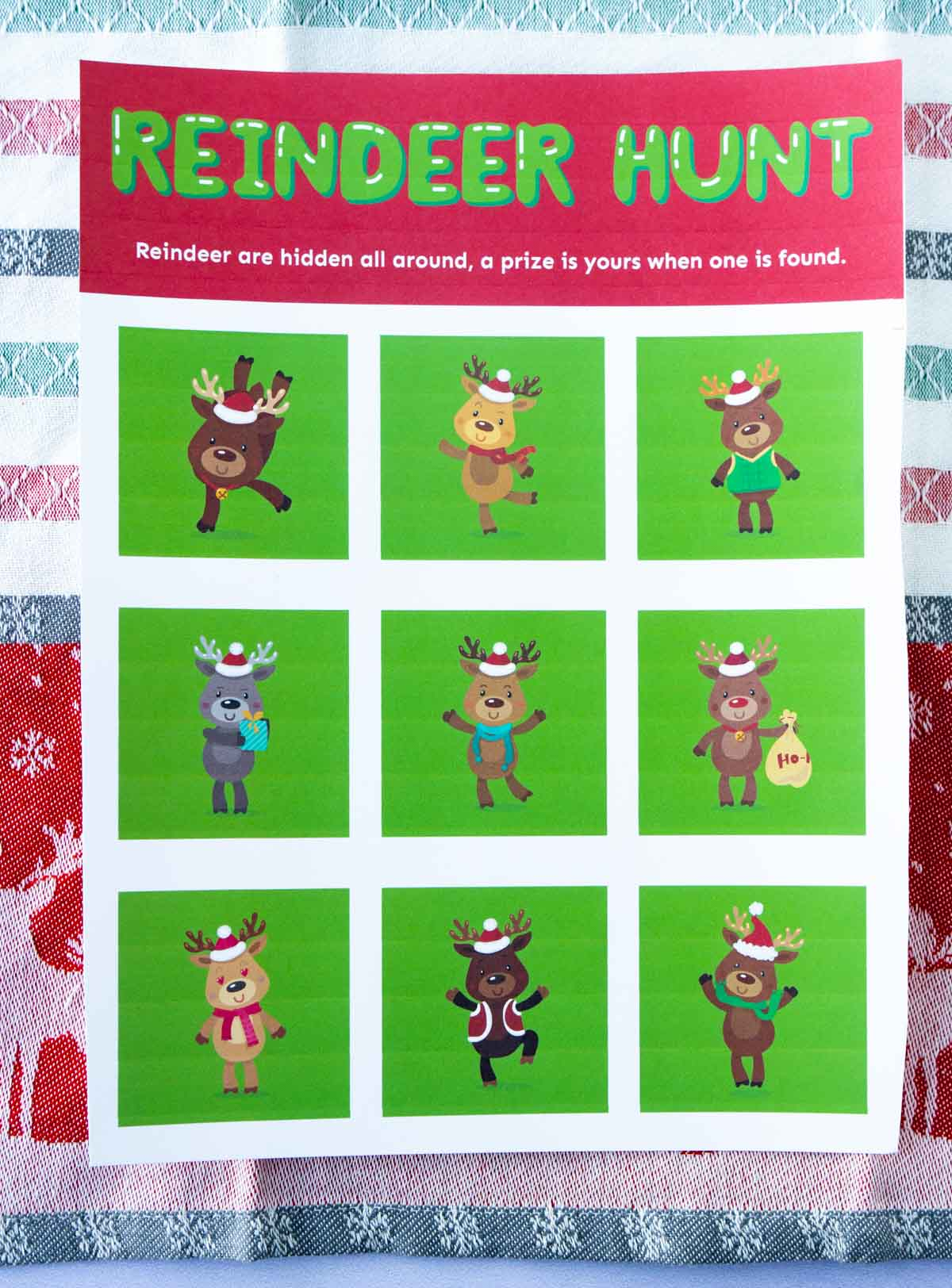 Reindeer hunt card on a reindeer towel