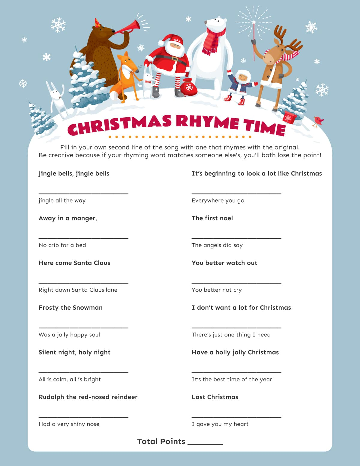 Christmas rhyme time game printable