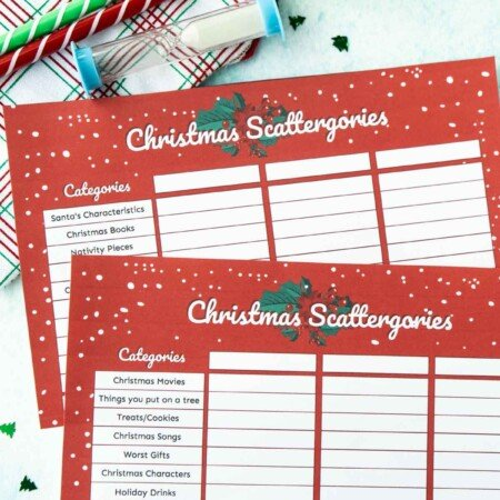 Supplies needed to play Christmas Scattergories