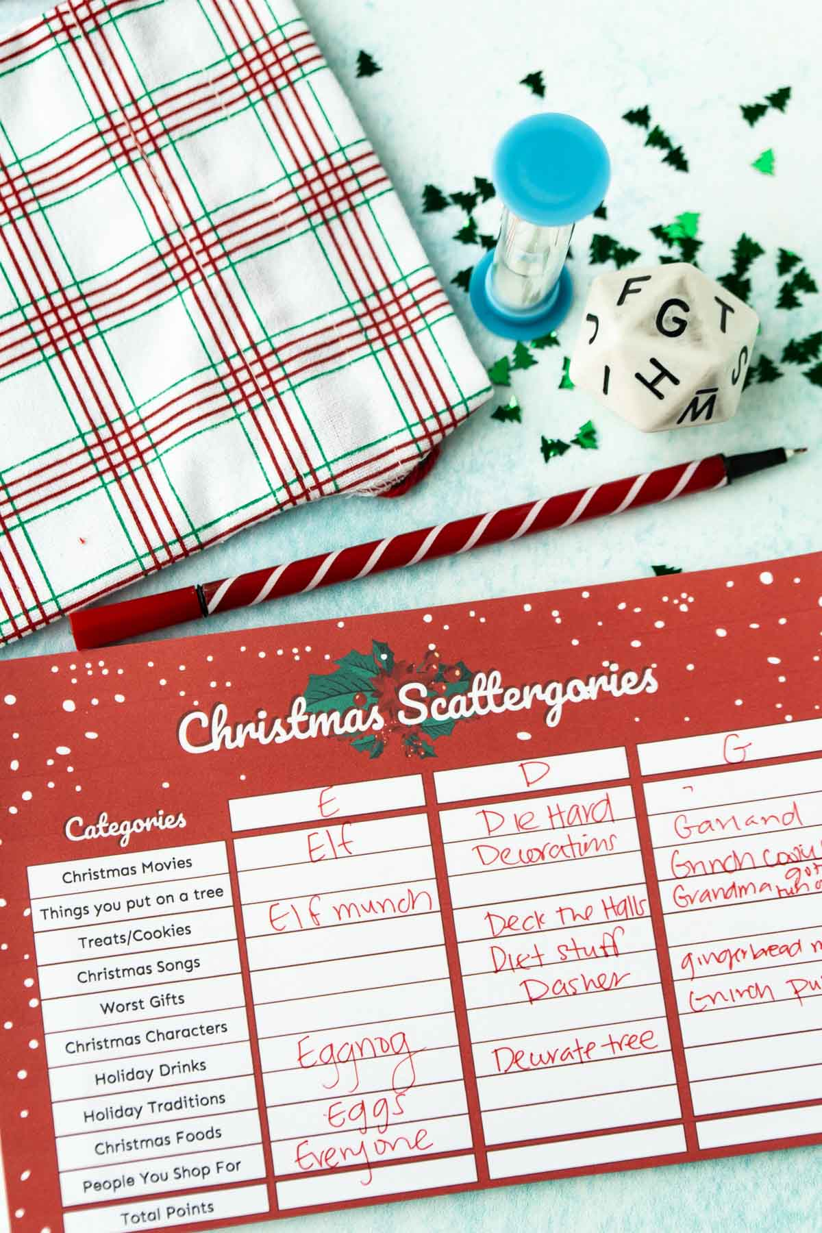 Christmas Scattergories card with answers written