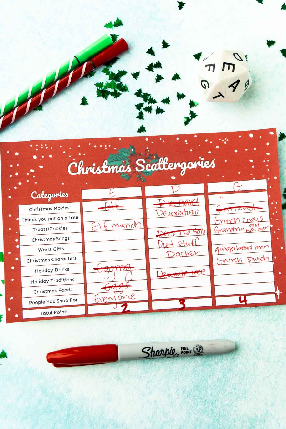 Scored Christmas scattergories card
