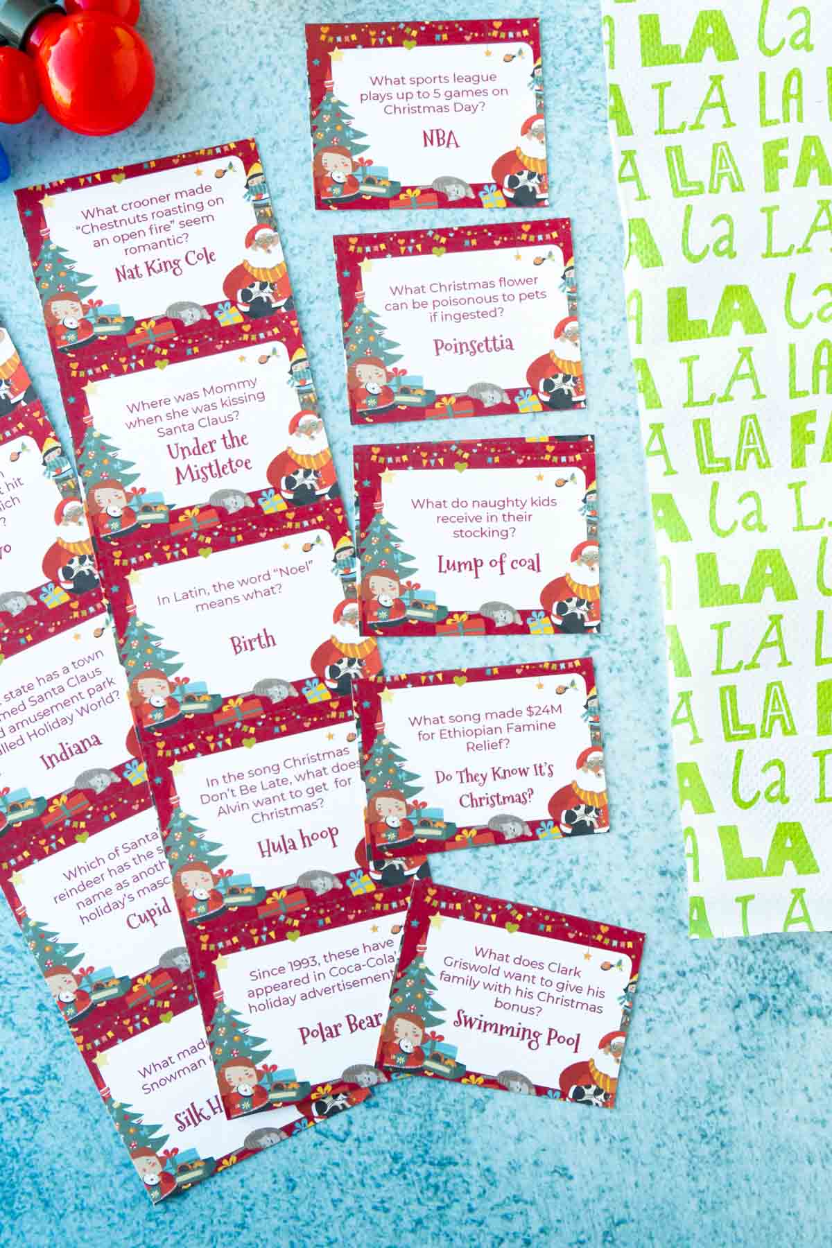 Rows of Christmas trivia questions