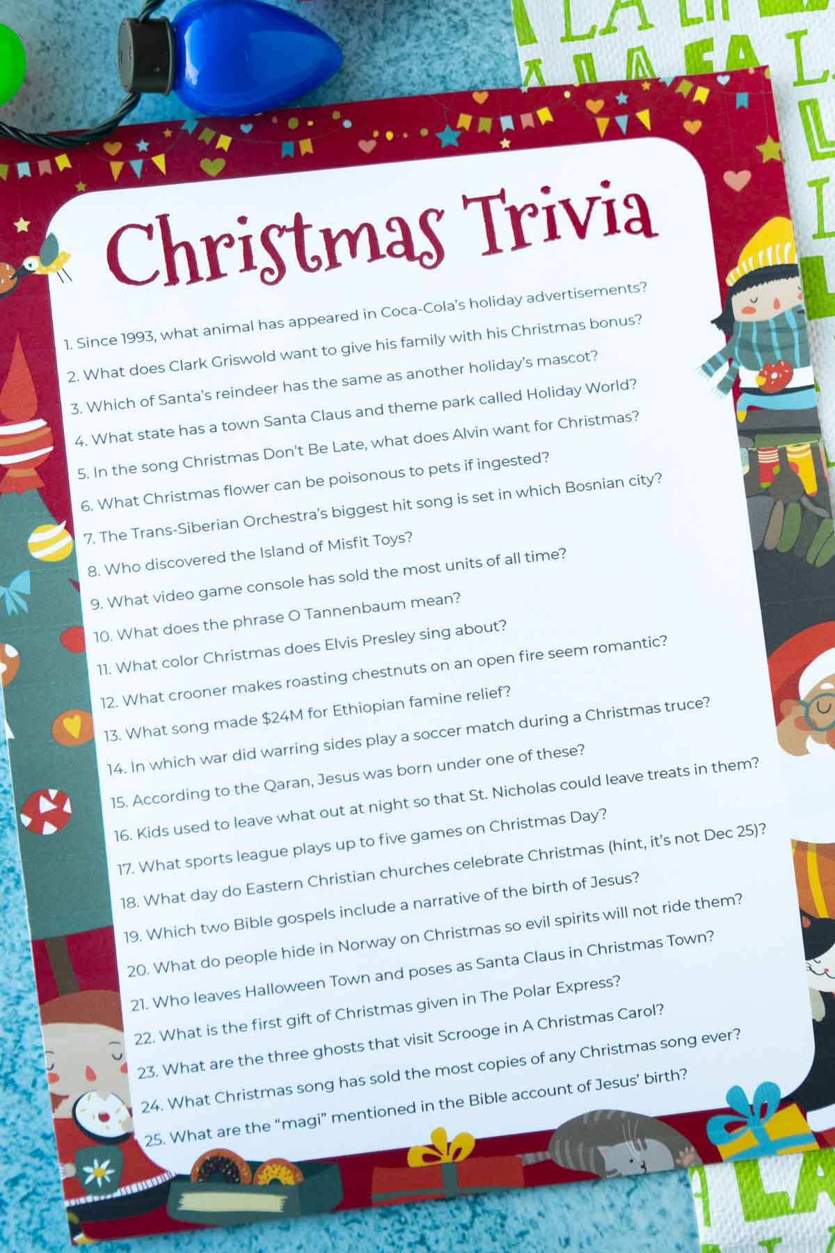 Printed out Christmas trivia questions