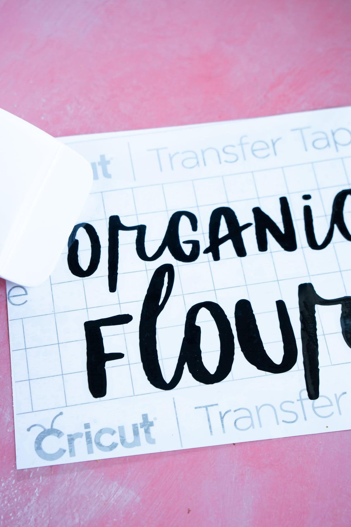 organic flour vinyl with transfer tape on top