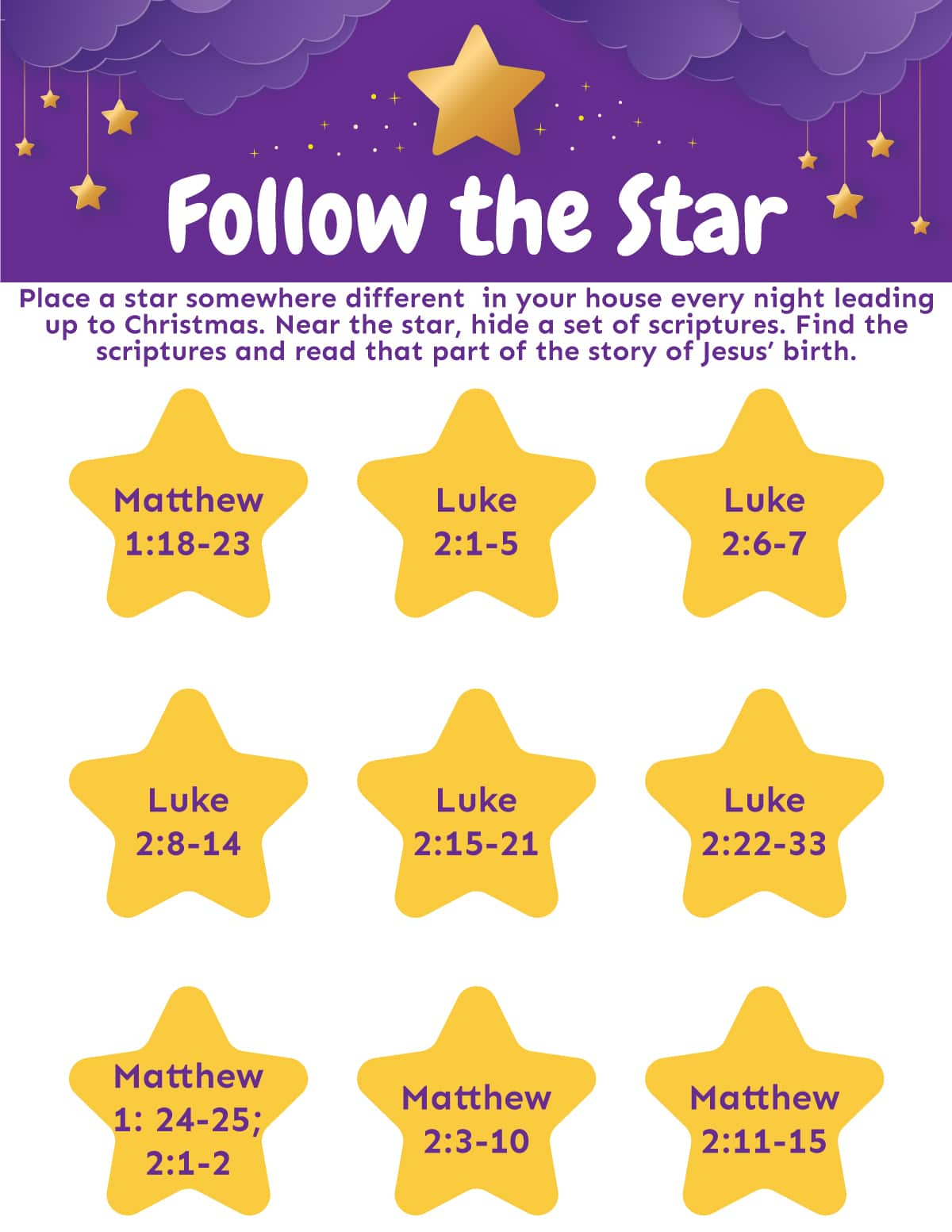 Printable follow the star activity sheet
