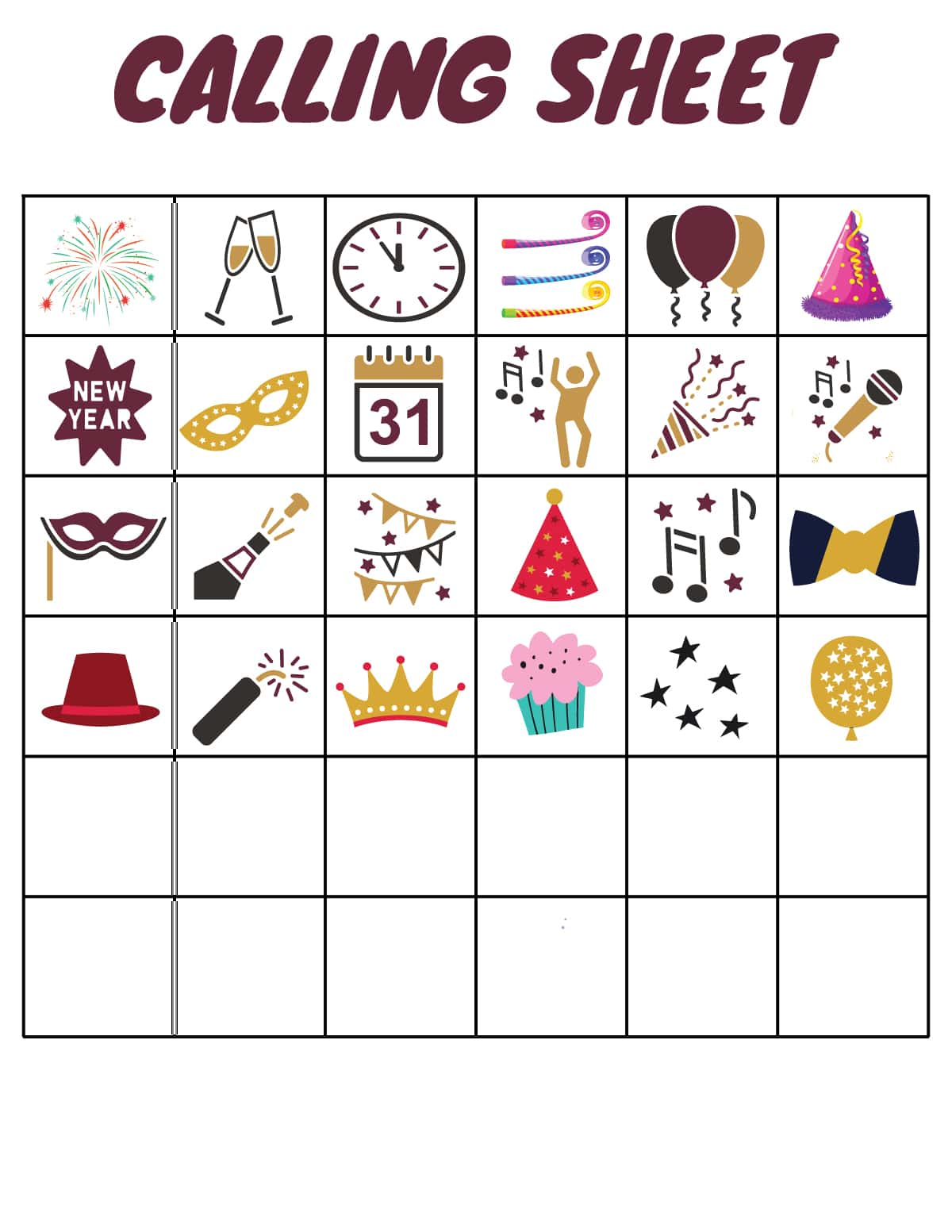 New Year's Eve bingo calling sheet