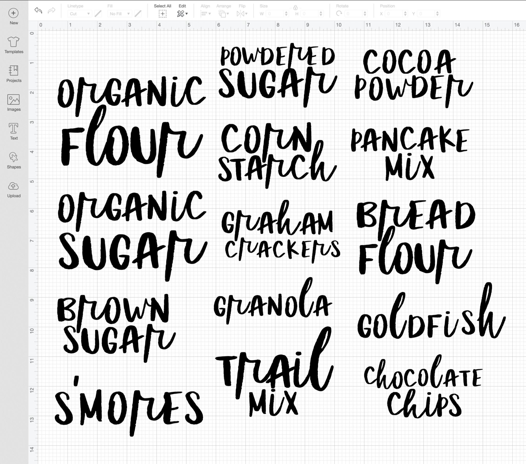script font labels in Cricut Design Space