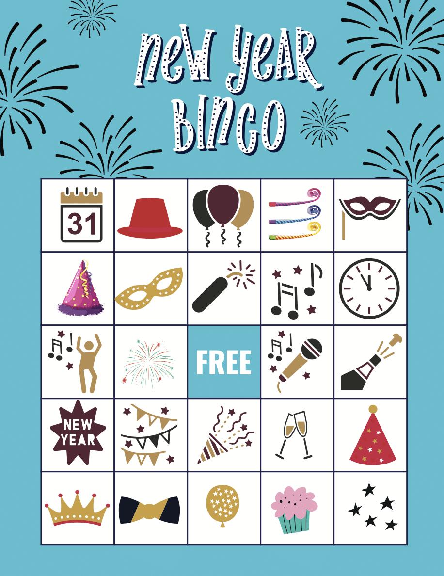 Blue new years eve bingo card