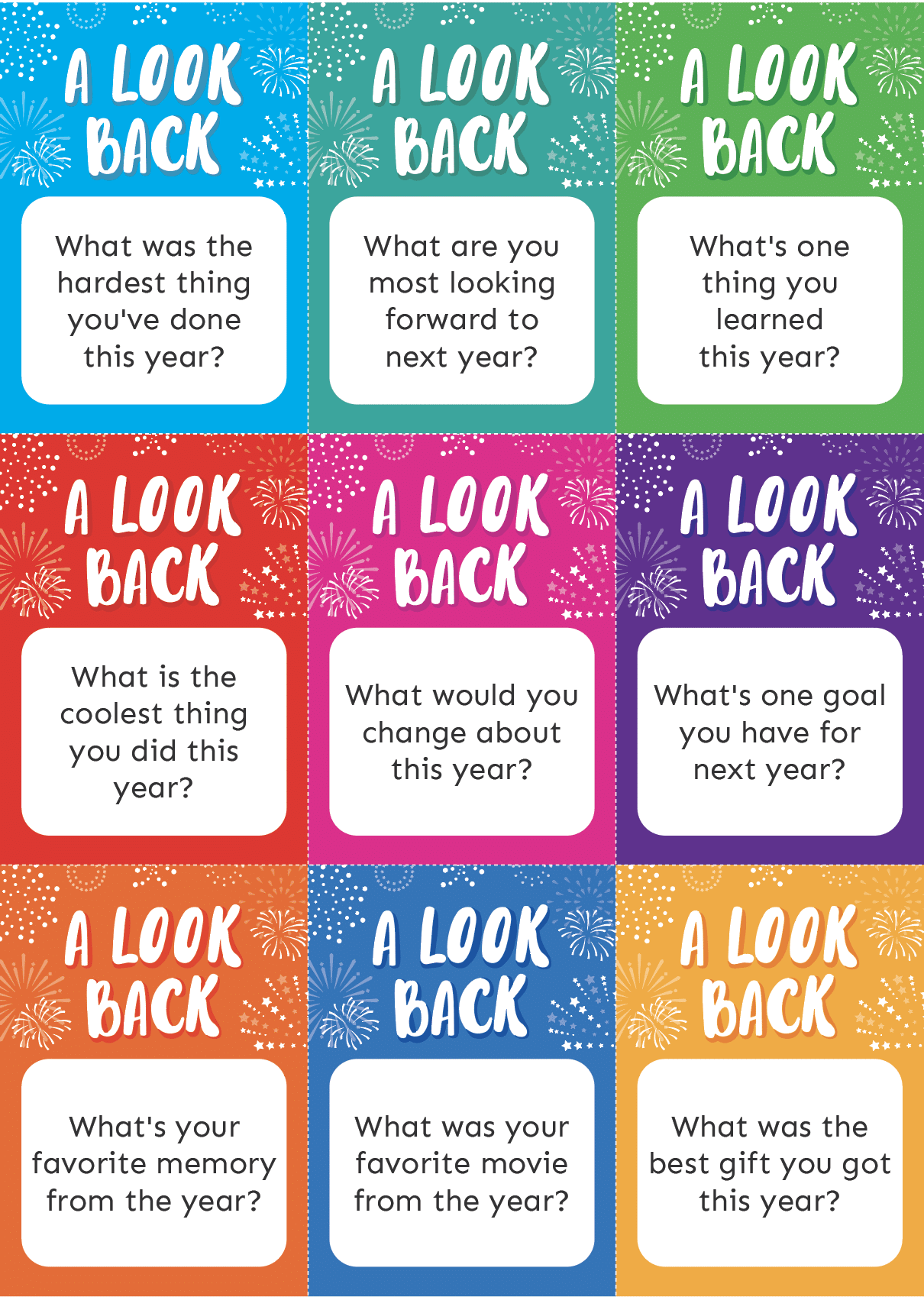 Colorful New Year questions