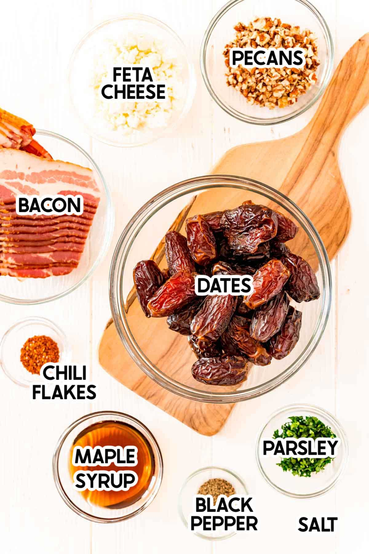 ingredients to make bacon wrapped dates with labels