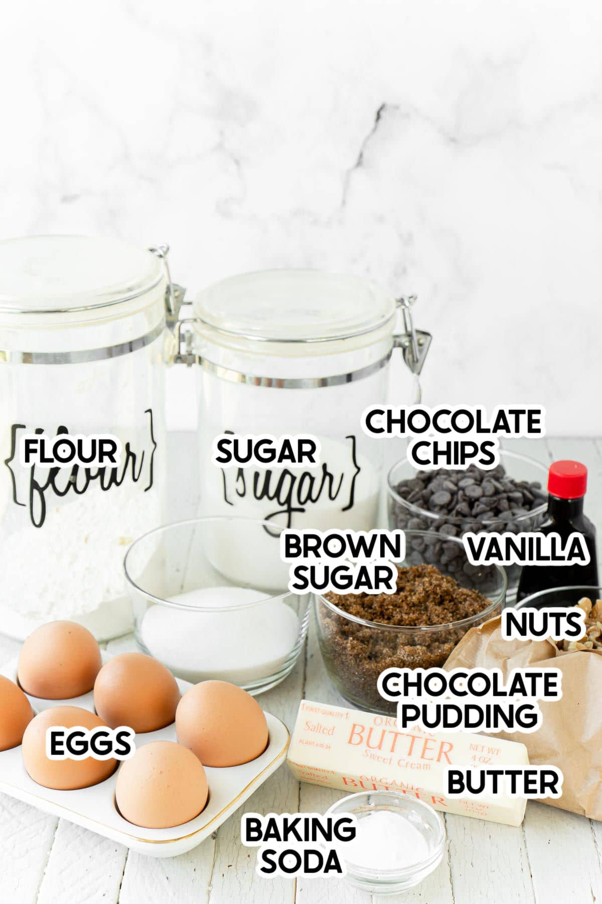 ingredients for chocolate chip pudding cookies
