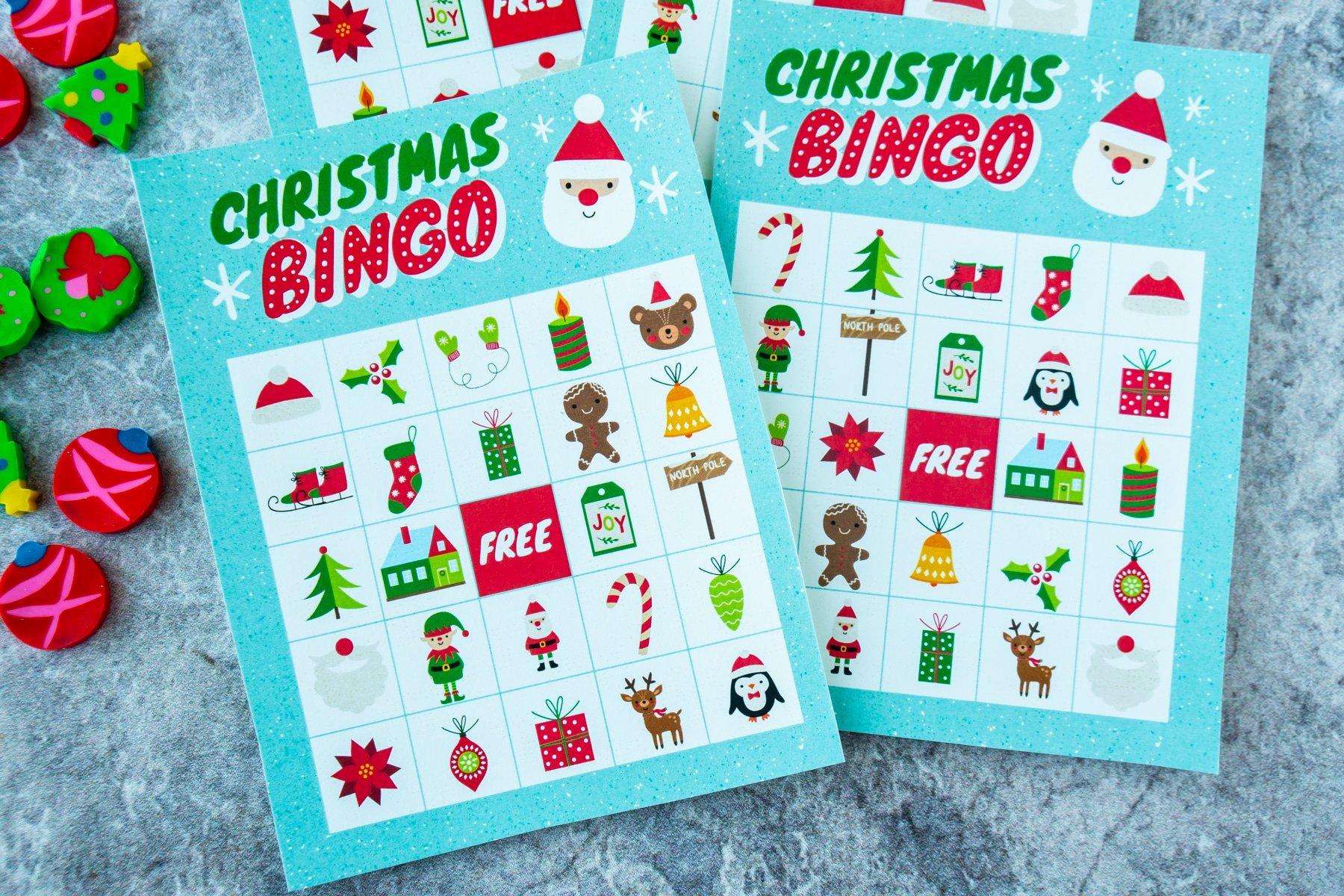 Horizontal image of two blank Christmas bingo cards
