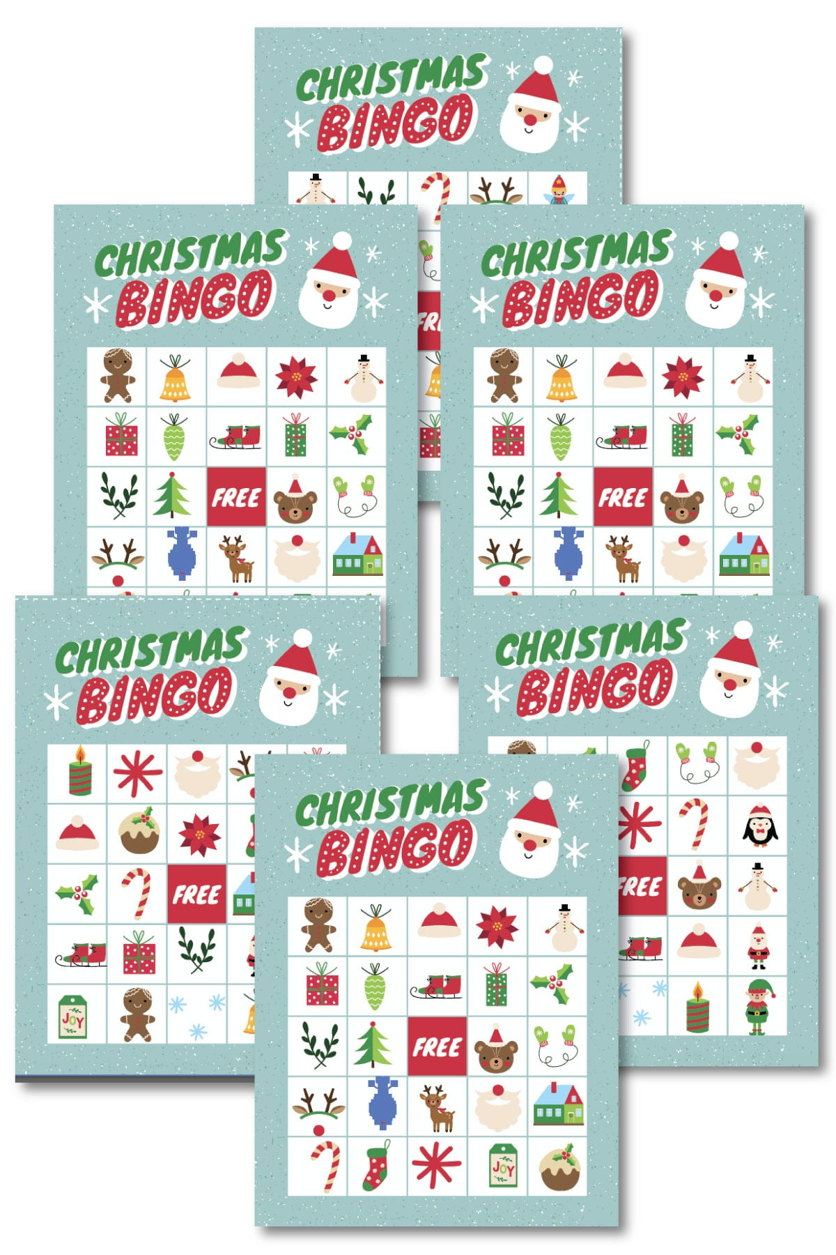 Christmas bingo cards in a pile