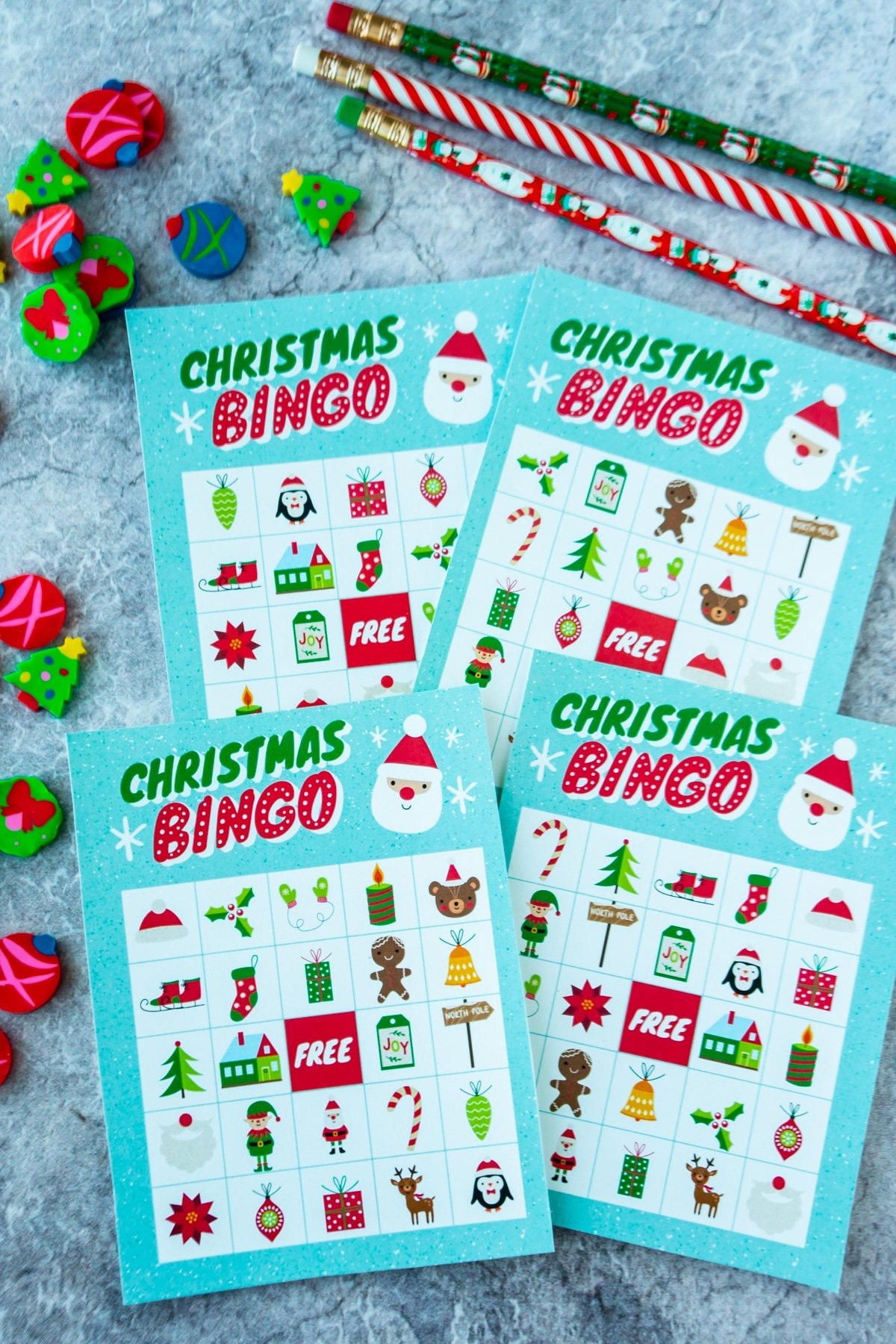 Christmas bingo cards with Christmas erasers around