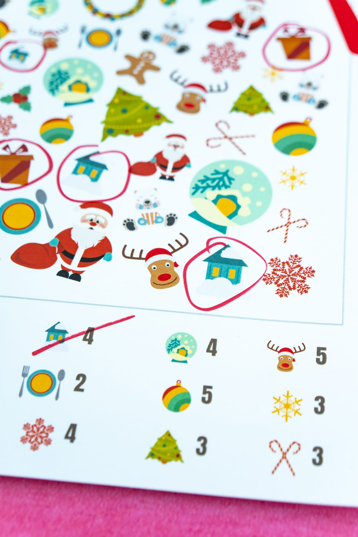 Christmas i-spy game with items circled in the picture