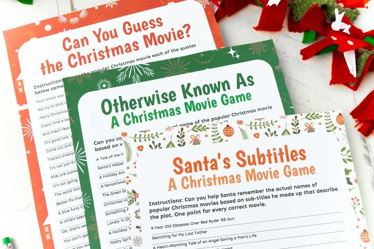 Horizontal image of three Christmas movie trivia games