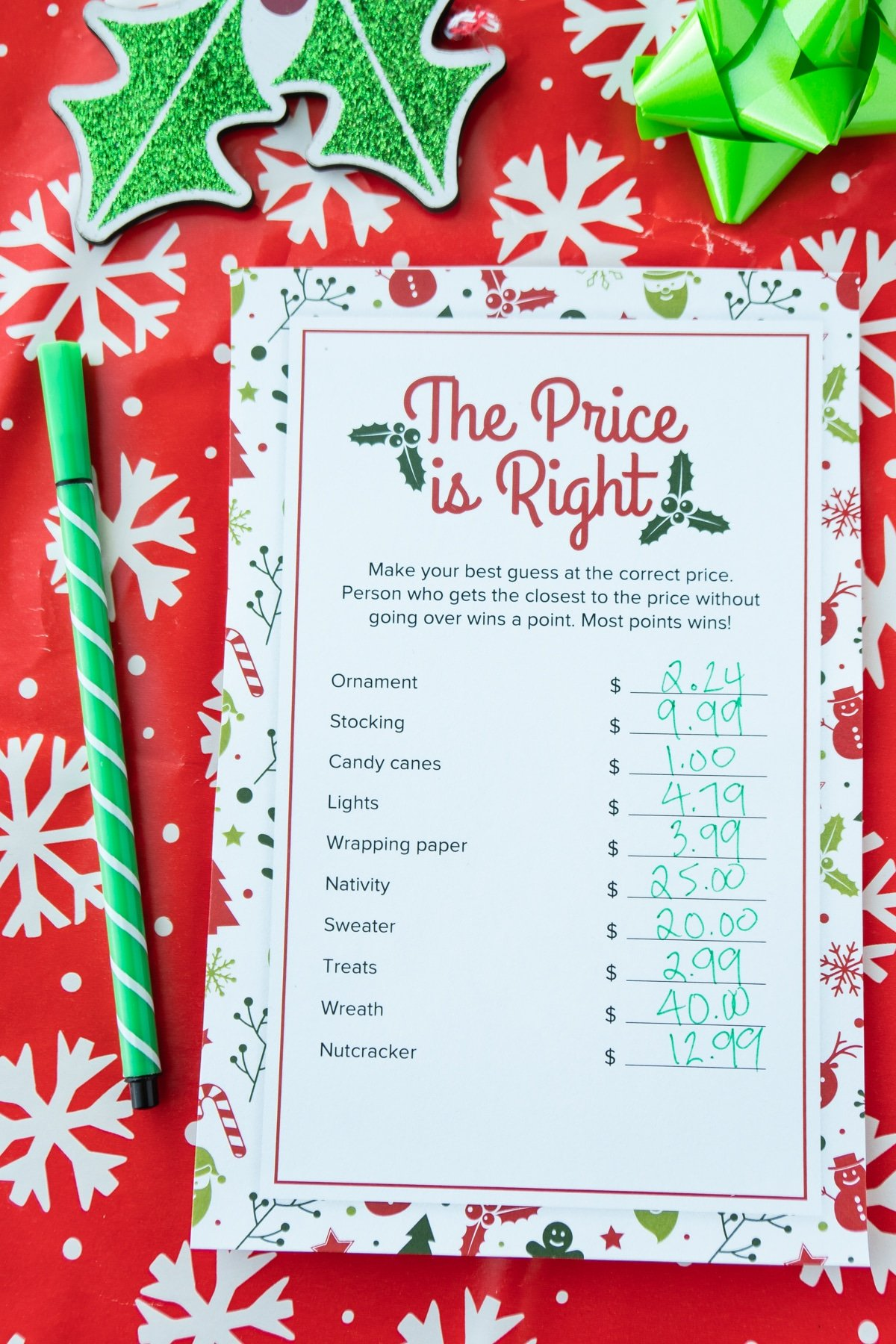 Christmas price is right game with prices written down