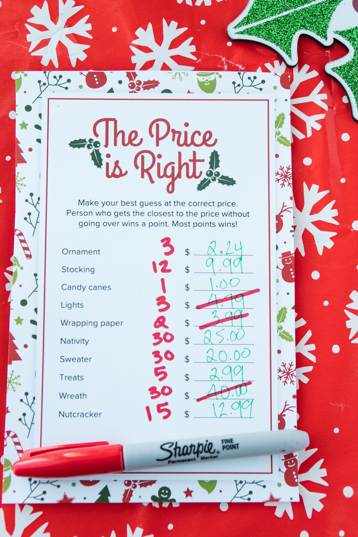 Christmas price is right game with answers written in