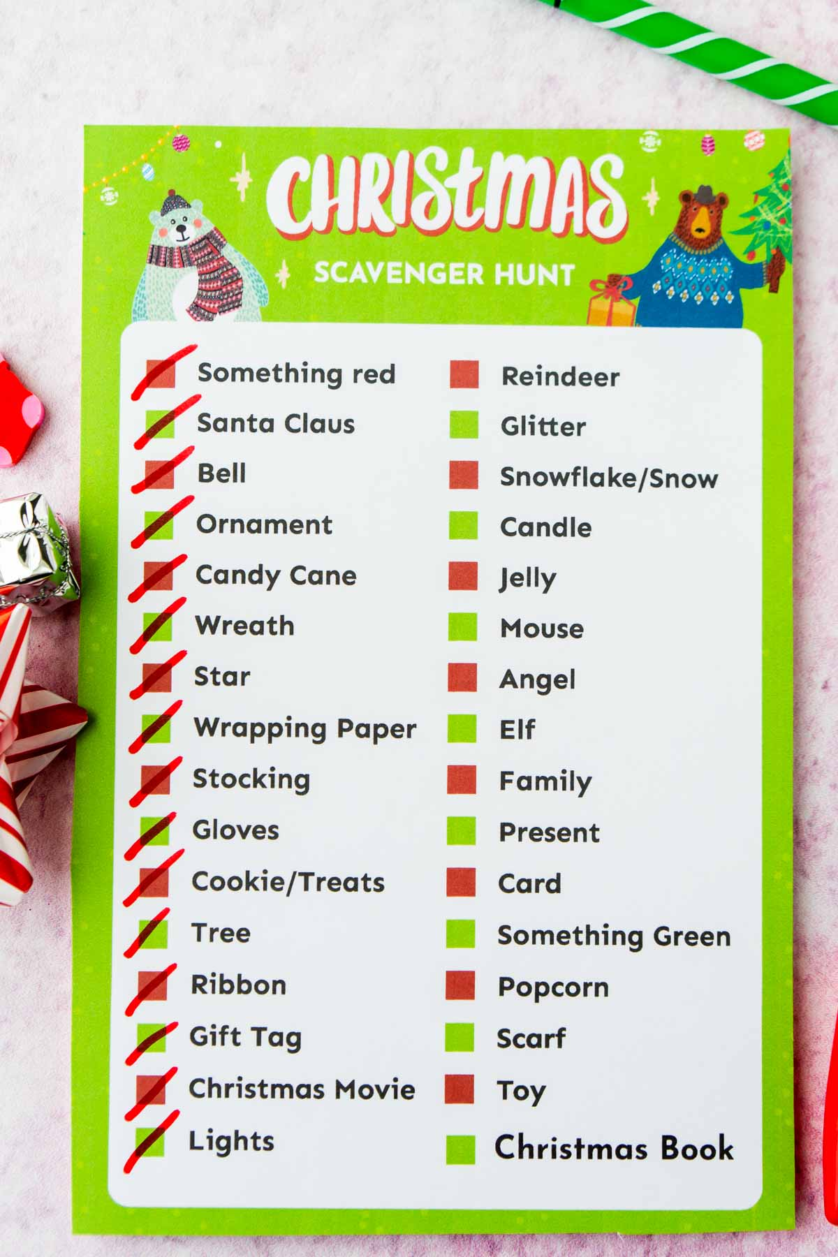 Christmas scavenger hunt with items checked off